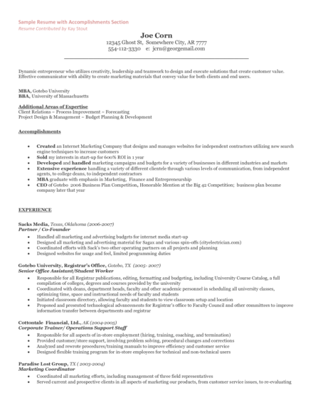 Resume for self employed it consultant